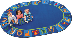 A to Z oval area rug for preschool alphabet games