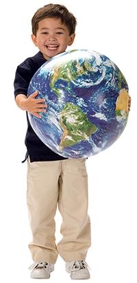 Preschool Boy holding globe