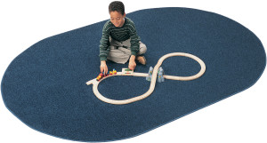 Solid Blueberry oval classroom rug from Carpets for Kids