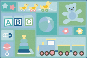 Toddler Area Rug with learning alphabet blocks, trains, and teddy bear
