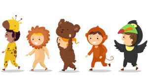 Cartoon of kids in animal costumes